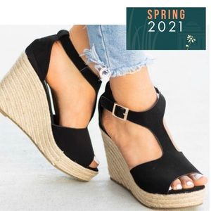 Perforated T-Strap Espadrille Wedge